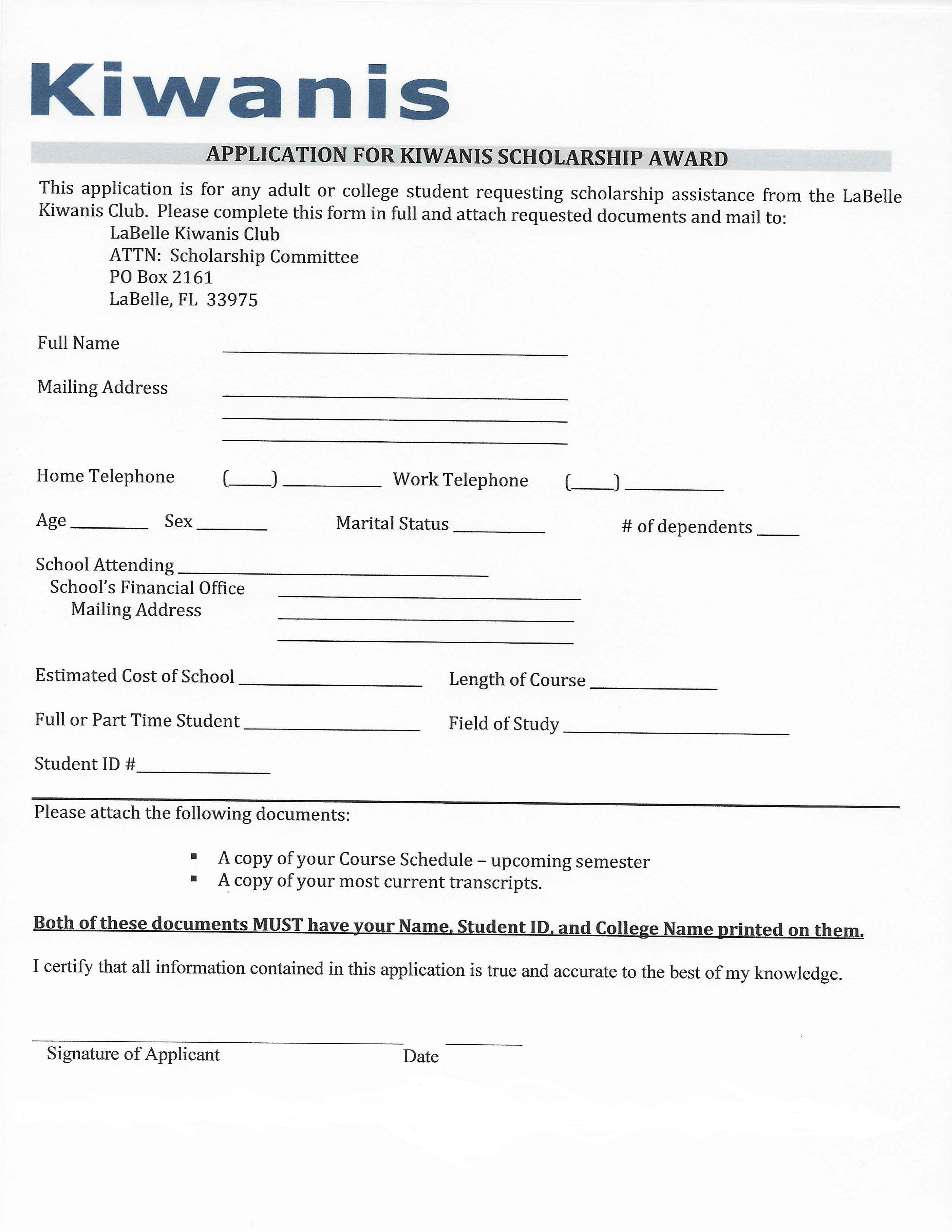 picture regarding Printable Scholarship Applications identify Kiwanis Club of LaBelle